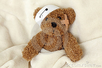 Teddy bear ill Stock Photo