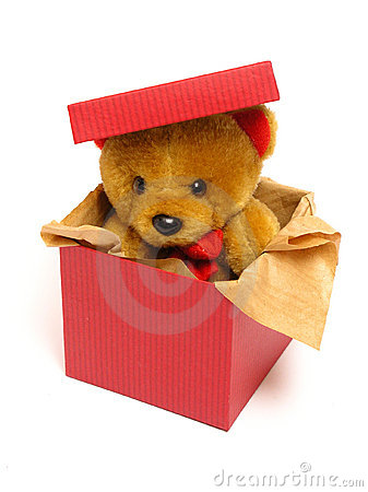Free Teddy Bear Inside A Box Stock Image - 226371
