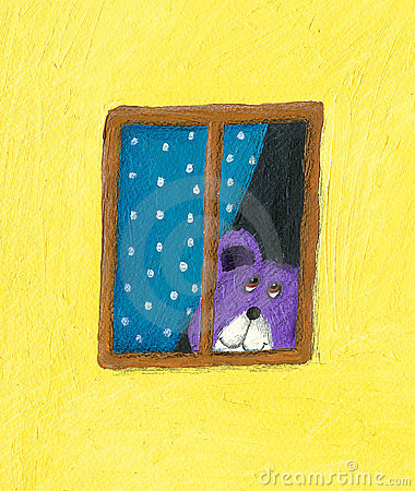 Teddy bear looking through the window