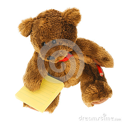 Teddy bear with notes and pencil