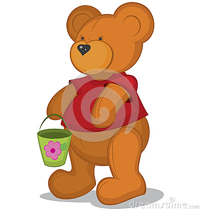 Teddy bear with pail in red T-short