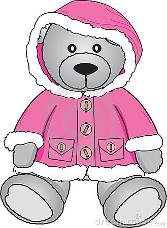 Teddy bear in pink coat