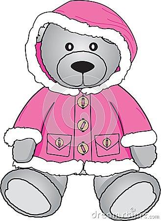 Teddy bear in pink coat