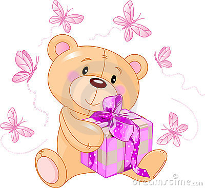 Teddy Bear with pink gift