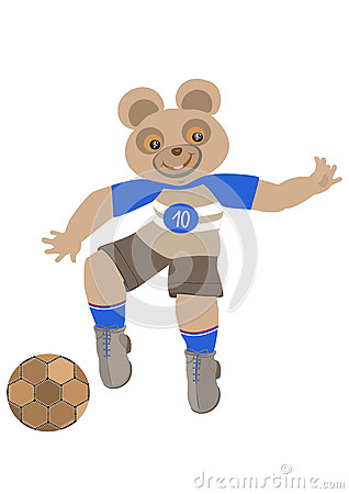 Teddy-bear playing football