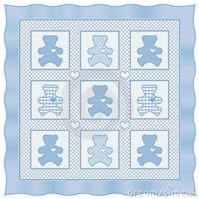 Teddy Bear Quilt, Baby Blue pastel