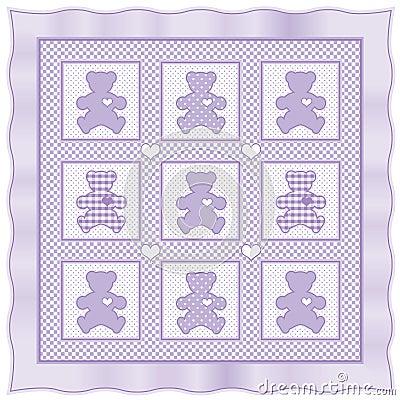 Teddy Bear Quilt, Lavender