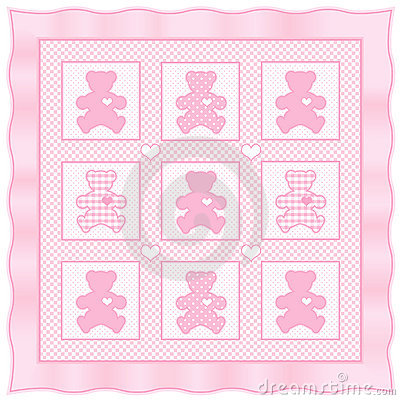 Teddy Bear Quilt Pastel Baby Pink Stock Photos Image