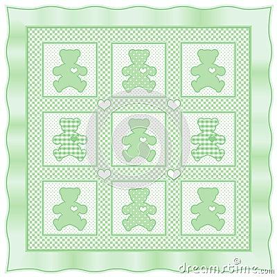 Teddy Bear Quilt, Pastel Green