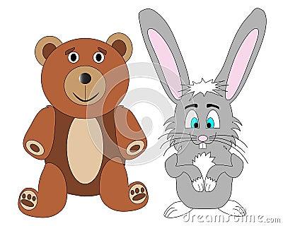 Teddy Bear and Rabbit Vector