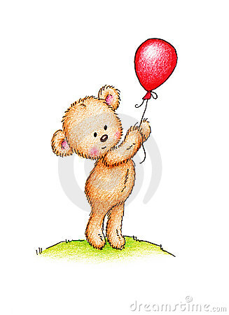 Teddy bear with red balloon