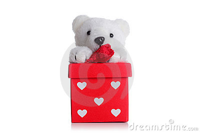 Teddy bear on a red giftbox