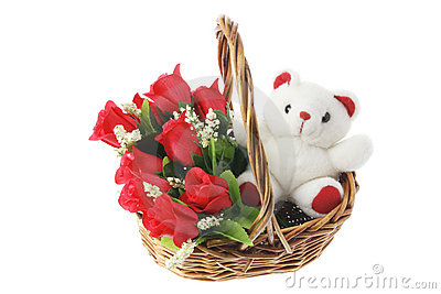 Teddy Bear and Red Roses in Basket
