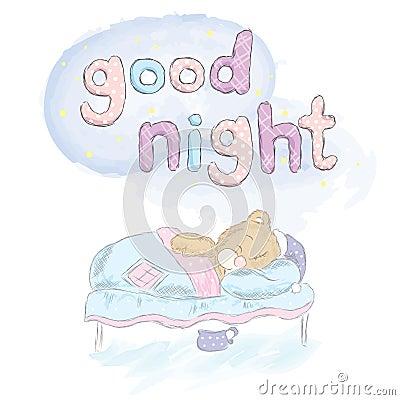 Teddy Bear Sleeping In Bed Bear Hand Drawn Vector