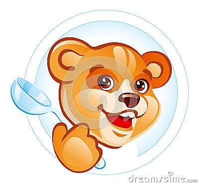 Teddy bear with spoon