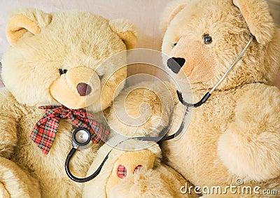 Teddy bear and stethoscope
