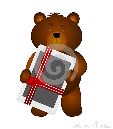 Teddy Bear with tablet as gift