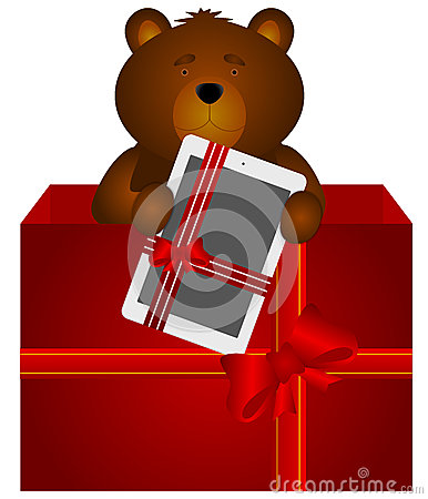 Teddy Bear with tablet in the gift box