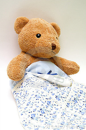 Free Teddy Bear With A Thermometer Stock Photography - 9211852
