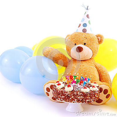 Free Teddy Bear With Birthday Cake Stock Photo - 49225340