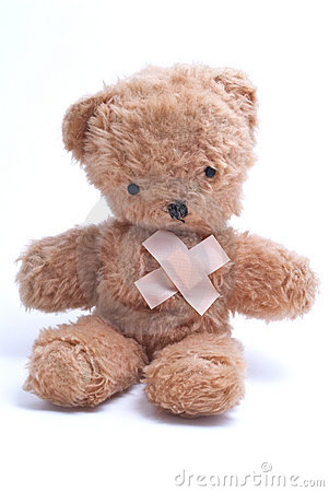 Free Teddy Bear With Injured Heart Stock Photo - 12054590