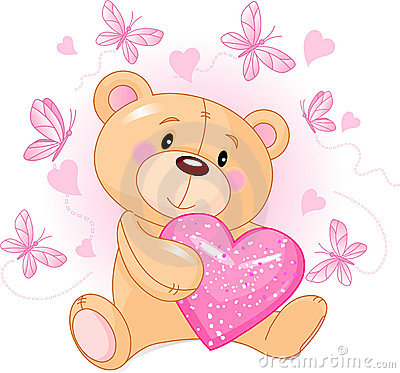 Free Teddy Bear With Love Heart Royalty Free Stock Photos - 17860148