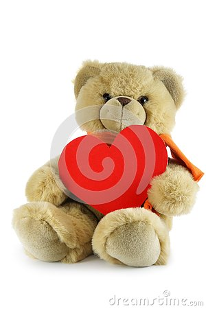 Free Teddy Bear With Red Heart Royalty Free Stock Photography - 4049317