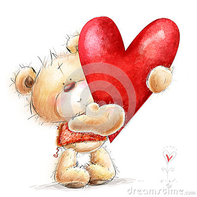 Free Teddy Bear With The Big Red Heart.Childish Illust Stock Photo - 35003530