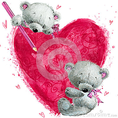 Free Teddy Bear With The Big Red Heart. Valentines Greeting Card. Stock Photography - 64762812