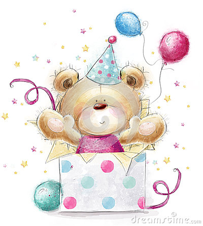 Free Teddy Bear With The Gift.Happy Birthday Card Stock Photography - 52062762