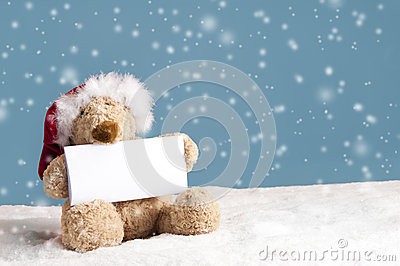 Teddy bear with xmas hat seated in the snow