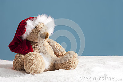 Teddy bear with xmas hat in the snow