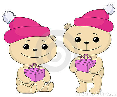 Teddy bears with gift boxes