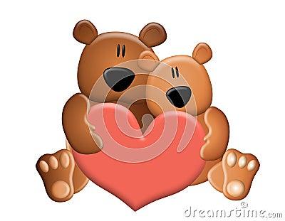 Teddy Bears Holding Valentine Heart