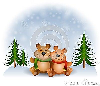 Teddy Bears Hugging Snow