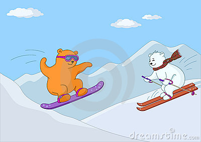 Teddy bears ski in mountains in day