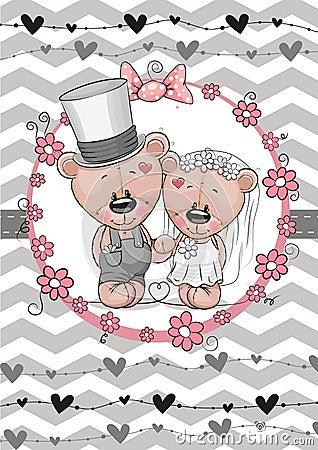 Teddy Bride and Teddy groom Vector Illustration