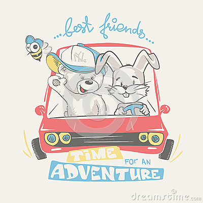 Teddy and bunny driving adventure, print design for kids apparel Vector Illustration