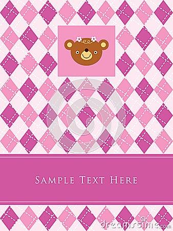 A teddy girl birthday arrival card