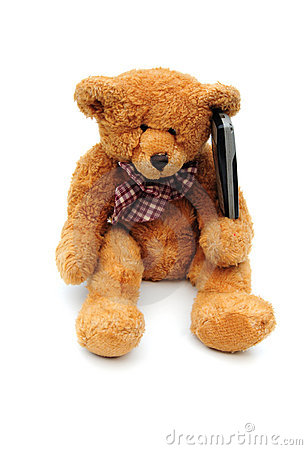 Teddy on a mobile phone