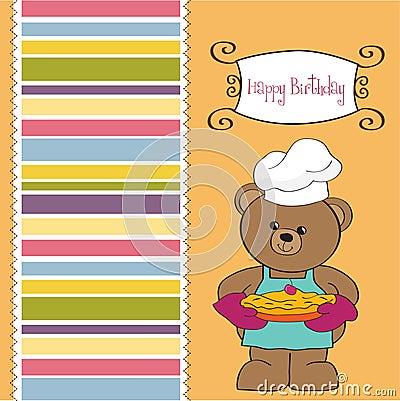 Teddy with pie. birthday greeting card