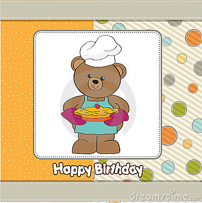 Teddy with pie. birthday greeting card