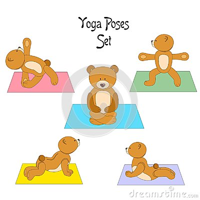 The teddy yoga Vector Illustration