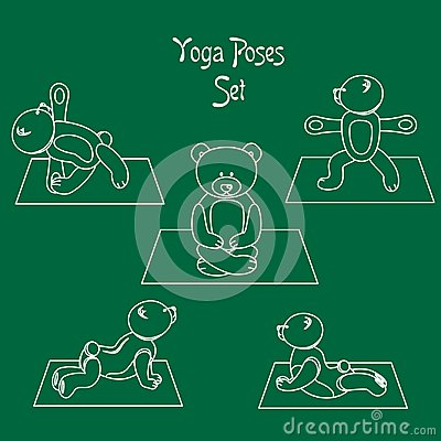 The teddy yoga white Vector Illustration
