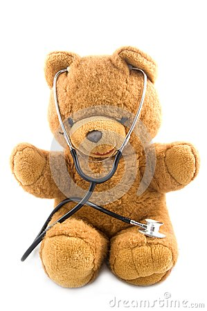 Teddybear acting as a doctor with a stetoscope