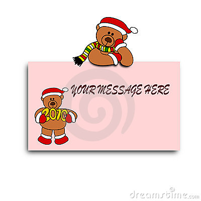 Teddybear Festive New Year Card Design