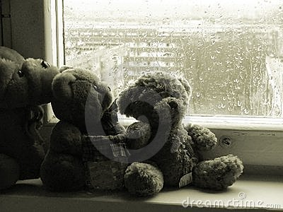 Teddybears on a rainy day