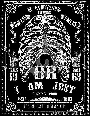 Free Tee Graphic Design Skeleton Detail Poster Art Royalty Free Stock Photo - 67742475