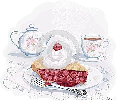 Tee mit Erdbeeretorte