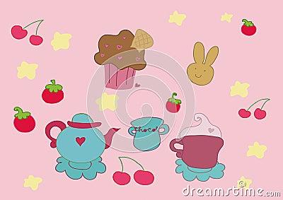 Tee trägt Elemente Früchte